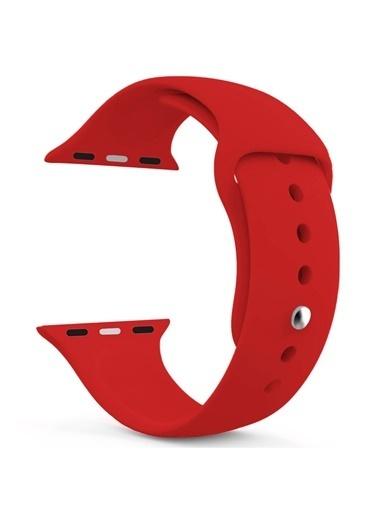 Jacobson Apple Watch 42-44 Mm Kordon Spor Kayışı Yumuşak Silikon Kırmızı Koyu Kırmızı